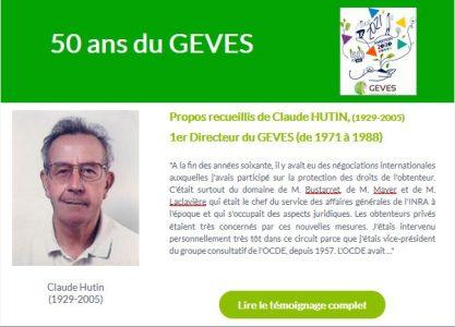 Claude Hutin, Directeur du GEVES de 1971 à 1988